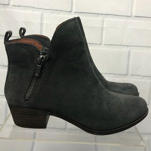 Lucky Brand Basonta Suede Grey Ankle Booties